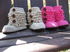 Baby Girl Boots Hot Pink / Oatmeal. Can't live without!