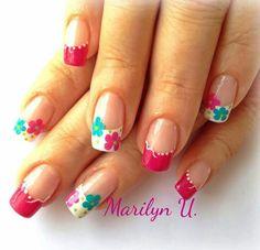 diseños de fantasia para uñas - Buscar con Google Diy Nail Designs, Simple Nail Designs, French Nails, Gorgeous Nails, Pretty Nails, Long Nail Art, Nail Art For Beginners, Different Nail Designs, Flower Nail Art