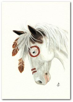 Mustang Horse Paint Native American Feathers by AmyLynBihrle/ this looks like the girl horse from Stallion: Spirit of the Cimarron Native American Horses, Indian Horses, Painted Pony, Horse Drawings, Le Far West, Equine Art, Horse Love, Native Art, Horse Art