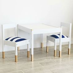 Such a great idea/diy Here is the full set all done! IKEA LÄTT children's table for a playroom! Ikea Table, Ikea Chair, Diy Chair, Diy Table, Ikea Furniture Hacks, Diy Kids Furniture, Ikea Hacks, Plywood Furniture, Furniture Stores