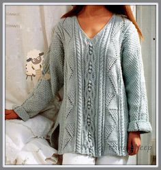PDF Knitting Pattern for Ladies Aran Sweater Top - Flattering Design - Instant Download