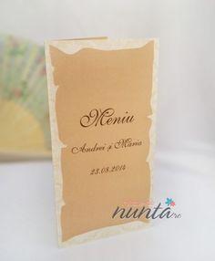 Meniu crem pergament, potrivit pentru o nunta cu tematica medievala. Place Cards, Place Card Holders