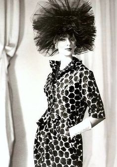Silk printed suit and black tulle hat by Balenciaga. Photo: Tom Kublin, 1960.