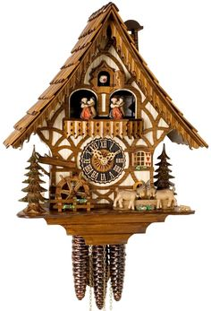 """Hones 13.5"""" 1 Day Chalet Music 6744T Cuckoo Clock – Stunning Swiss roof! -Moving Goats Hit Antlers -Moving Water Wheel & Dancers. Offered by Designed in Time"""