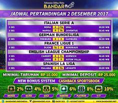 bandarbo.net Jadwal Pertandingan Sepakbola 2 Desember 2017… #Bandarbo.me #DaftarBandarbo #TaruhanBola #BandarTaruhan #DepositBandarbo