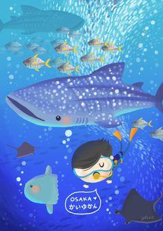 Underwater with Whale Shark! Osaka Aquarium! Japan Travel Illustration by Lon Lee