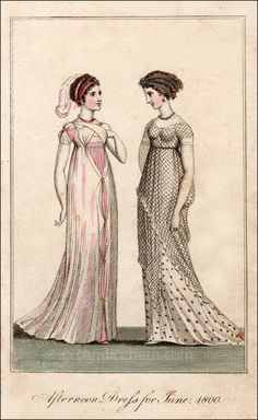 Afternoon Dress for June, 1800 1800s Fashion, 19th Century Fashion, Vintage Fashion, Gothic Fashion, Edwardian Fashion, Steampunk Fashion, Regency Dress, Regency Era, Historical Costume