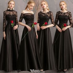 Affordable Black Satin See-through Bridesmaid Dresses 2019 A-Line / Princess Appliques Lace Floor-Length / Long Ruffle Backless Wedding Party Dresses Satin Bridesmaid Dresses, Bridal Party Dresses, Prom Dresses With Sleeves, Bridal Gowns, Blue Dresses, Black Bridal Parties, Farewell Dresses, Blue Party Dress, Long Dress Party