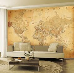 Vintage style world map deco wallpaper mural wallpaper mural old map wallpaper mural vgplakat p allposters gumiabroncs Choice Image