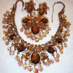 VTG JULIANA COLORADO TOPAZ CRYSTAL RHINESTONE NECKLACE BROOCH EARRING SET PARURE in Jewelry & Watches, Vintage & Antique Jewelry, Costume | eBay