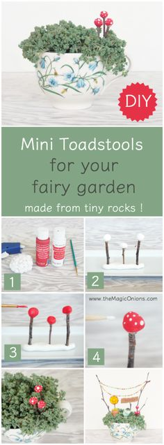 DIY Mini Toadstools for your Fairy Garden - The Magic Onions - DIY Mini Toadsto. - DIY Mini Toadstools for your Fairy Garden – The Magic Onions – DIY Mini Toadstools for your Fairy Garden – The Magic Onions Fairy Houses Kids, Fairy Garden Houses, Gnome Garden, Fairy Gardening, Fairies Garden, Fairy Crafts, Garden Crafts, Diy Jardim, Ideas Dormitorios
