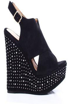 BLACK FAUX SUEDE OPEN TOE CROSS SLINGBACK STUD PLATFORM WEDGE,Womens Wedge Shoes For Sale-Heels Wedges,Suede Wedges,Lace Up Wedges,Platform ...