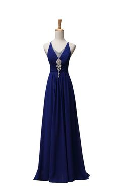 Vogue008 Womens Jewel Neck Floor-length Formal Dress with Ruching and Rhinestone-8-Royalblue