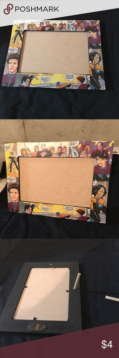 Star Trek frame This is a wooden 4x6 photo frame that has been painted black and mod podged with Star Trek comic pages Other