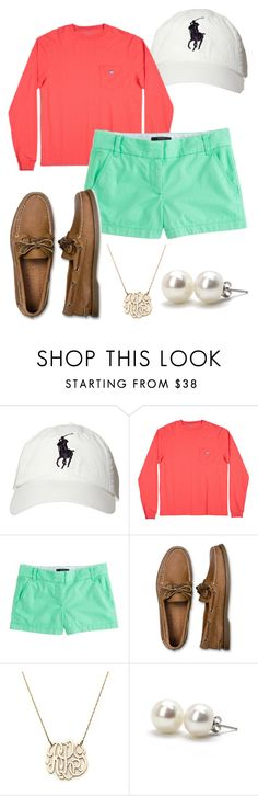 """""""Country Club Prep."""" by smorrisonn ❤ liked on Polyvore featuring Polo Ralph Lauren, J.Crew, Sperry, Moon and Lola, Bounkit, country, casual, preppy, jcrew and pearls"""
