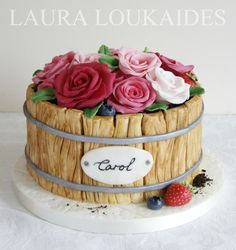 A pretty little Flower Barrel Cake for a lady who loves roses. I hope you all like it!! - Laura x