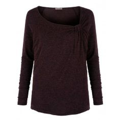 Pink Clove UK - asymmetrical wine/black long sleeve top