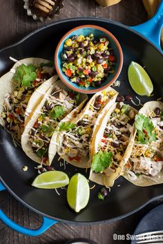 These mesquite grilled chicken tacos with honey hot sauce crema come together…