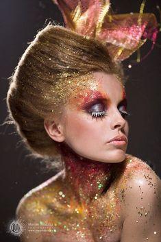 ⭐️full glitter theatrical leaf makeup