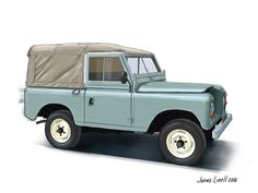 """Land Rover 88"""" Series III. Illustration by Jonas Linell 2016."""