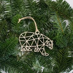 Geometric Polar Bear Ornament - shadow box