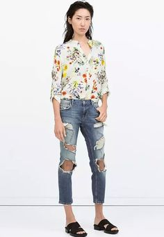 Euro Brief Casual Asymmetrical Floral Blouse - Lalalilo.com Shopping - The Best Deals on Women's Tops