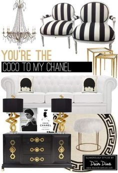 Black And White Dining Room Decor Table chair combinations that just work great together. From the black brick wall and grey undertones it just oozes style and class. Good Ideas For Yo. Chanel Room, Chanel Decor, Gold Home Decor, Diy Home Decor, Decor Room, Black And Gold Living Room, Black White And Gold Bedroom, White Gold, White And Gold Decor