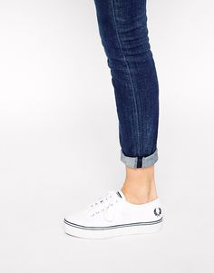 Image 4 of Fred Perry Phoenix White Canvas Flatform Sneakers