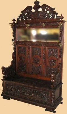 Antique Majestic Walnut Hall Seat-Carved