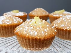 Magdalenas de piña sin azúcar   Dulces Diabéticos Diabetic Friendly Desserts, Muffins, Holiday Recipes, Bread, Breakfast, Healthy, Sweet, Diabetes, Food