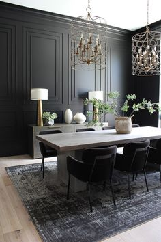 Our Bold Black Dining Room Reveal, Styled For Christmas - The House of Silver Lining - Kitchen Decoration Ideas Black Dining Room Sets, Dining Room Colors, Luxury Dining Room, Dining Room Design, Black And White Dining Room, Elegant Dining Room, Elegant Home Decor, Dining Area, Dining Room Paneling