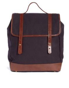 ASOS Canvas Backpack with Leather Trim, $75   Non-traditional diaper bag   Diaper bag for dad