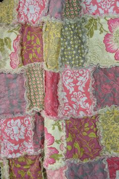 Baby Rag Quilt Baby Girl  Modern Damask by justluved on Etsy, $79.00
