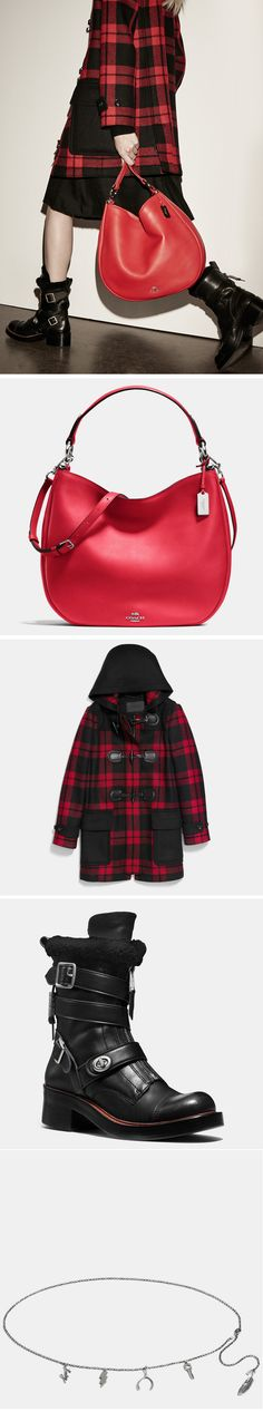 Our soft, Glovetanned Leather NoMad Hobo makes a striking statement in True Red. We paired it with our favorite black leather Moto Boots and a plaid hooded coat.