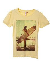 Soft Yellow (Yellow) Teens Yellow Surfer Girl Print T-Shirt New Look