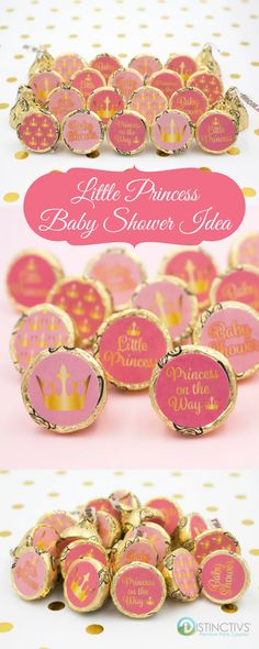 A Little Princess is on the Way!  Use Hershey Kisses with Almonds to get Gold Foil Kisses with these adorable stickers for a simple (and yummy) baby shower idea. #itsagirl #girlbabyshower #pinkandgoldbabyshower #littleprincess