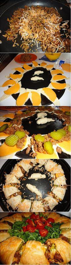 Crescent Cheeseburger Ring Recipe