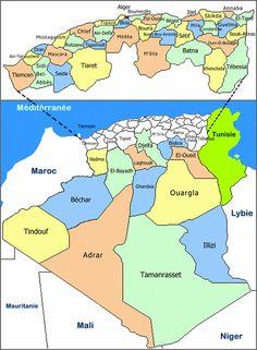 Carte Algérie département, la carte des départements d'Algérie.
