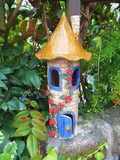 Gartendekoration - Elfenturm Windlicht Käferhaus Elfenhaus Fee Unikat - ein Designerstück von Terra-Cottage bei DaWanda