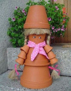 Girl made with clay pots