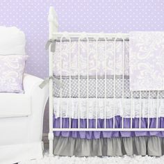 Make your dream nursery with Caden Lane's designer Lavender Sweet Lace Damask Baby Bedding 2pc set that includes sheet and skirt.