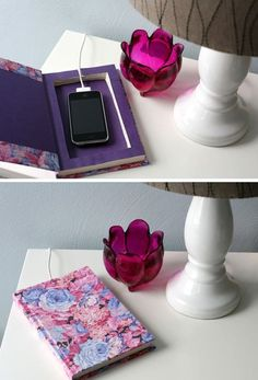 Upcycle an Old Book Into a Pretty Charger Station   21 Life Hacks Every Girl Should Know   Easy DIY Projects for the Home