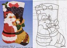 Artesanato e Cia : Enfeites natalinos,está na hora de começar!!! (papai Noel) Christmas Items, Christmas Projects, Christmas Crafts, Christmas Ornaments, Christmas Stocking Template, Christmas Sheet Music, Felt Crafts Patterns, Felt Stocking, Stained Glass Christmas