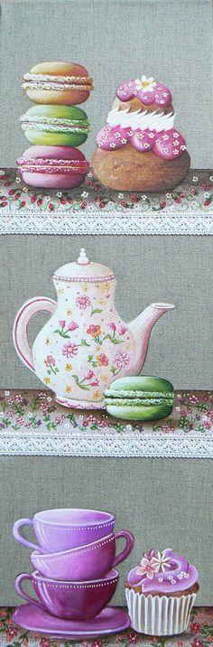 Tableau representant un café gourmand avec des macarons, une religieuse et cupcake