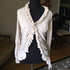 Magaschoni lightweight cardigan m Very flattering Magaschoni ruffled cardigan with rusching  and gathering for a great fit worn under a handful of times and in very good condition beige tan color 100% cotton Magaschoni Sweaters Cardigans