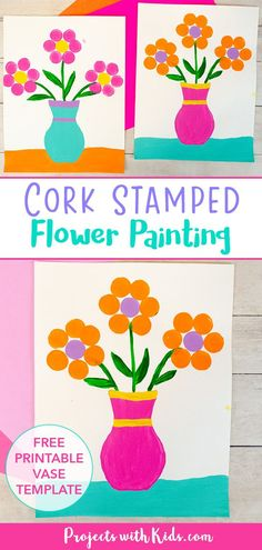 This cork stamped flower painting is a fun and easy art project that kids will love! A great Mother's Day painting idea or spring craft. Spring Arts And Crafts, Spring Art Projects, Clay Art Projects, Spring Painting, Painting For Kids, Drawing For Kids, Fun Crafts For Kids, Projects For Kids, Art For Kids