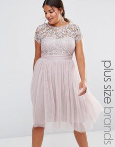 So pretty!  Plus Size Lace Bodice Midi Dress With Tulle Skirt