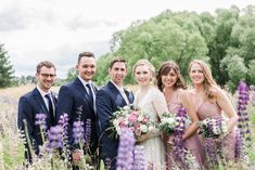 An epic Lake Tekapo wedding, surrounded by mountain views and lupins at the height of spring. Married in the Church of the Good Shepherd. So many colourful summer blooms created the backdrop for so many bridal portraits! Bridal party portraits amongst lupins.   Anna Hart Photography   #aucklandweddingphotographer #weddingphotographer #nzweddingphotographer #aucklandwedding #nzwedding Lake Tekapo, Anna, The Good Shepherd, Bridesmaid Dresses, Wedding Dresses, Bridal Portraits, Summer Wedding, In The Heights, Backdrops
