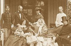 """sissiofaustria: """" The only photo of Sissi with her family -in -lawFrom left: Emperor Franz-Josef,his brother Maximilian,Empress Elisabeth(Sissi) with her children Rudolf and Gisela,Archduchess Sophie..."""