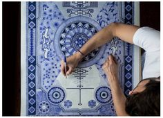 2015 Blue ballpoint pencils, marker, pyrography and UV ink on paper. - The Carpets is a series of drawings made to fit the size of muslim prayer. Diy Carpet, Carpet Ideas, Muslim Prayer Rug, Mohawk Carpet, Black Carpet, Carpet Colors, Pattern Illustration, Stuffed Animal Patterns, Art